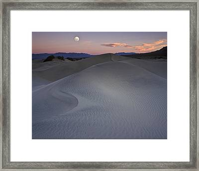 Sand Dune And Moon Death Valley Framed Print