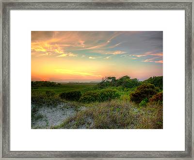 Sand Dunes And Beach Grass  Framed Print by Jenny Ellen Photography