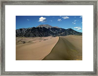 Sand Dunes With Mount Blanca Framed Print