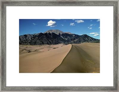 Sand Dunes With Mount Blanca Framed Print by John Brink