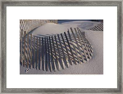 Sand Fence On The Beach In Destin Framed Print by Marc Moritsch
