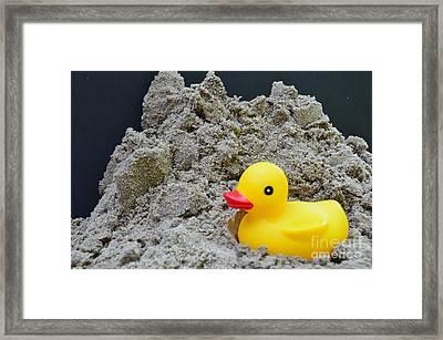 Sand Pile And Ducky Framed Print by Randy J Heath