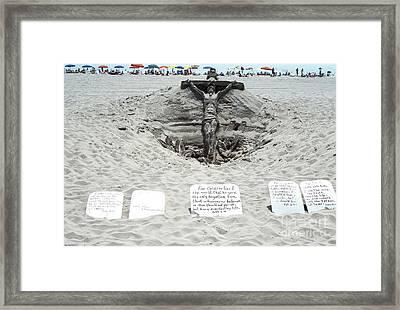 Sand Sculpture Christ On The Cross Framed Print