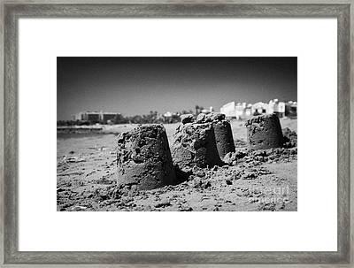Sandcastles On Cyprus Tourist Organisation Municipal Beach In Larnaca Bay Republic Of Cyprus Europe Framed Print