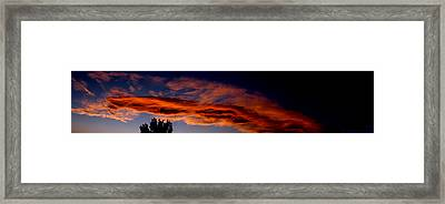 Sandia Heights Fiery Sunset Panoramic Framed Print by Aaron Burrows