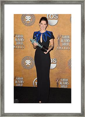 Sandra Bullock In The Press Room Framed Print