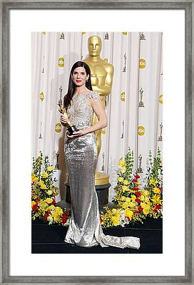 Sandra Bullock Wearing A Marchesa Gown Framed Print by Everett