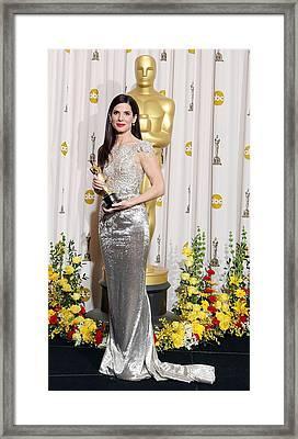 Sandra Bullock Wearing A Marchesa Gown Framed Print