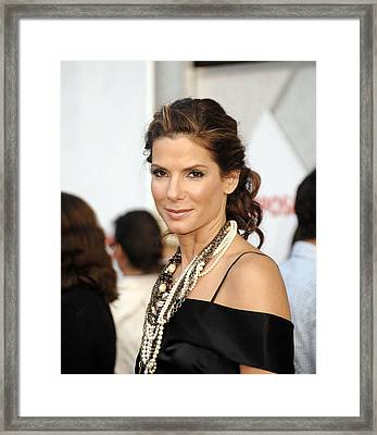 Sandra Bullock Wearing Lanvin Necklaces Framed Print