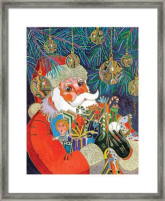 Santa And Gifts Framed Print