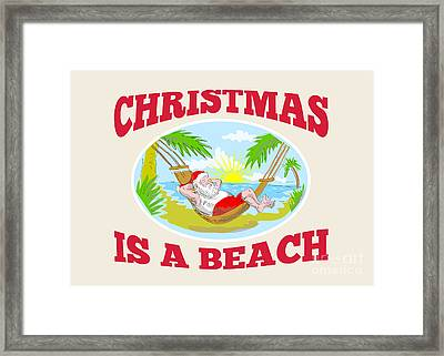 Santa Claus Father Christmas Beach Relaxing Framed Print by Aloysius Patrimonio