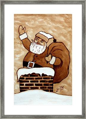 Santa Claus Gifts Original Coffee Painting Framed Print by Georgeta  Blanaru
