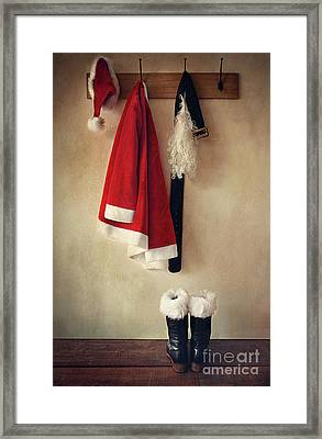 Santa Costume With Boots On Coathook Framed Print