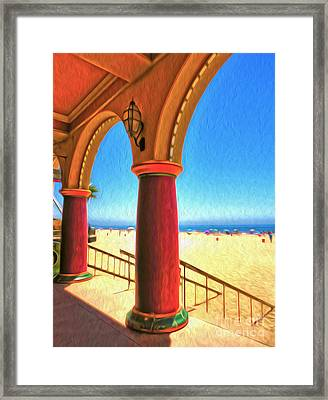 Santa Cruz Boardwalk - Beach Framed Print by Gregory Dyer