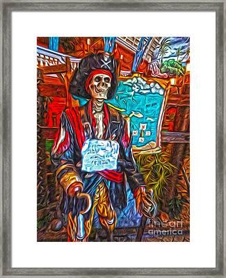 Santa Cruz Boardwalk - Pirate Of The Arcade Framed Print by Gregory Dyer