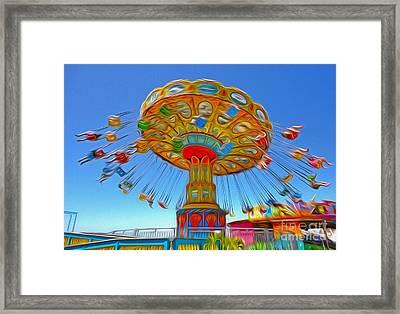 Santa Cruz Boardwalk - Tilt-a-whirl - 04a Framed Print by Gregory Dyer