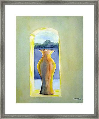 Santa Fe Window Framed Print by Linda Pope