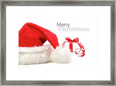 Santa Hat And Gift With Red Bow Framed Print