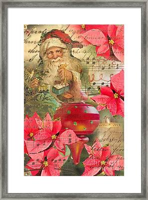 Santa In Ornaments Framed Print