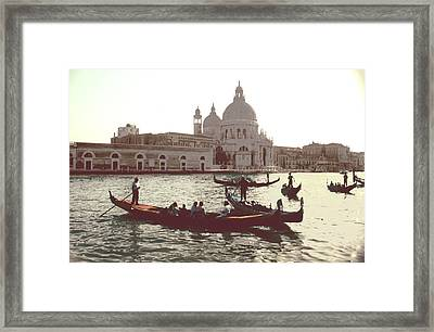 Framed Print featuring the photograph Santa Maria Della Salute Grand Canal Venice by Tom Wurl