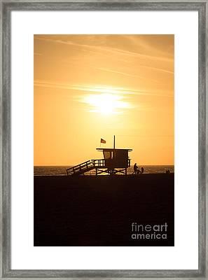 Santa Monica California Sunset Photo Framed Print