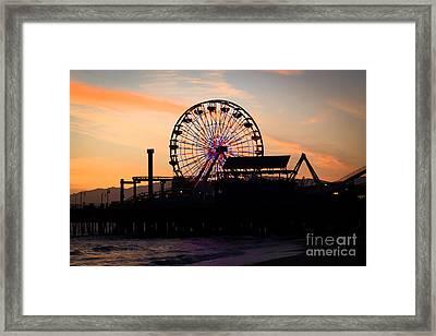 Santa Monica Pier Ferris Wheel Sunset Framed Print by Paul Velgos
