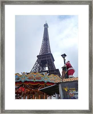 Santa Visits The Eiffel Tower Framed Print by Amelia Racca