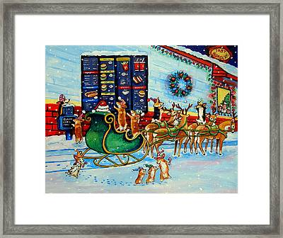 Santa's Pit Stop On  December 24th Framed Print by Lyn Cook