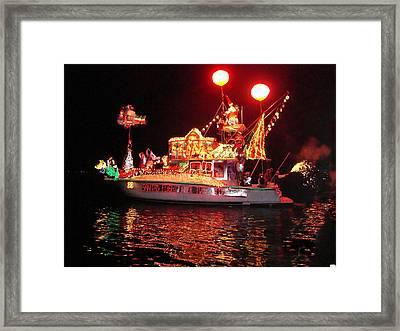 Santa's Sleigh Boat Framed Print