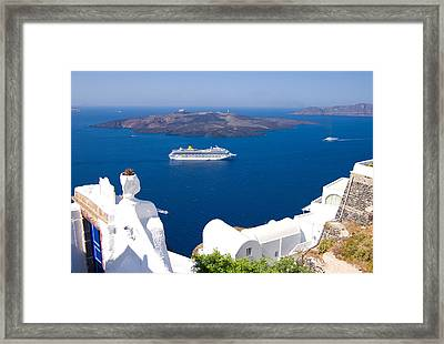 Santorini Cruising Framed Print by Meirion Matthias