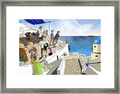 Santorini Rooftop  Framed Print by Sean Hagan