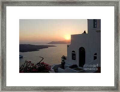 Santorini Sunset Framed Print by Leslie Leda