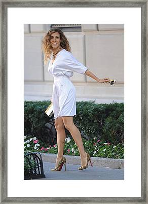 Sarah Jessica Parker Wearing A Halston Framed Print by Everett