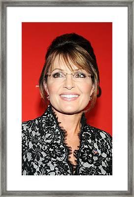 Sarah Palin At Arrivals For Time 100 Framed Print