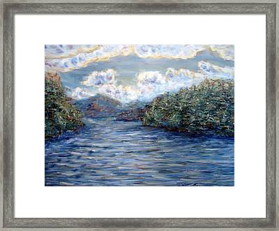 Framed Print featuring the painting Saranac Lake On A Summer Evening by Denny Morreale