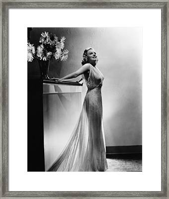 Saratoga, Jean Harlow, In A Gown Framed Print by Everett