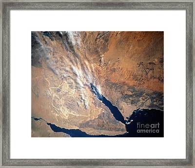 Satellite Image Of Land Framed Print by Stocktrek Images