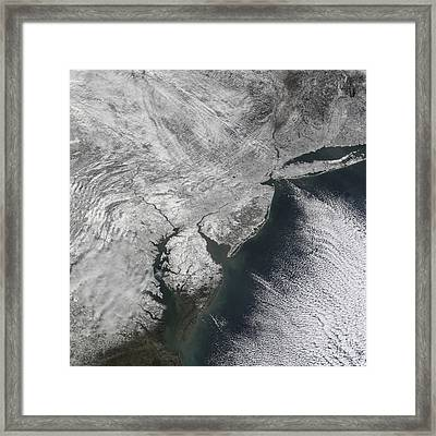 Satellite View Of A Noreaster Snow Framed Print by Stocktrek Images