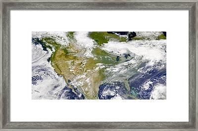 Satellite View Of North America Framed Print by Stocktrek Images