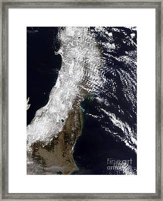 Satellite View Of Northeast Japan Framed Print by Stocktrek Images