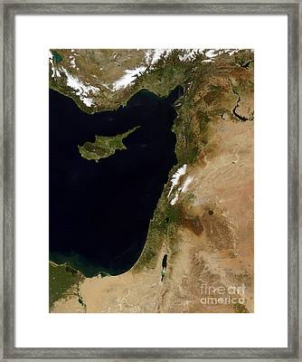 Satellite View Of Snow In Lebanon Framed Print by Stocktrek Images