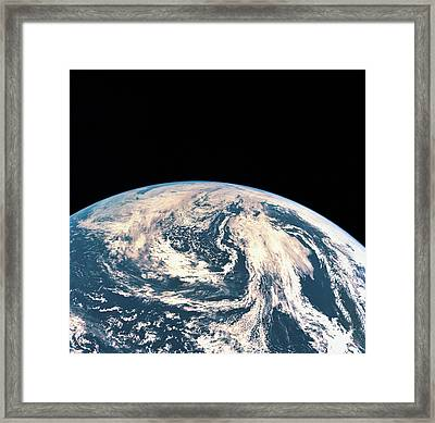 Satellite View Of The Earths Surface Framed Print by Stockbyte