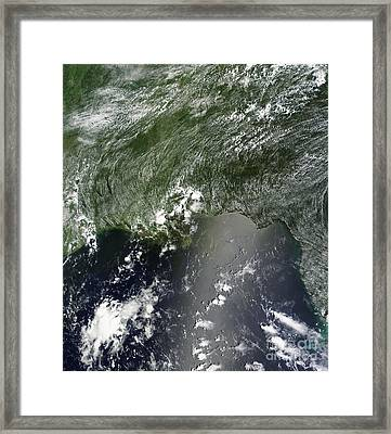 Satellite View Of The Gulf Of Mexico Framed Print by Stocktrek Images