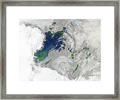 Satellite View Of The Ross Sea Framed Print by Stocktrek Images