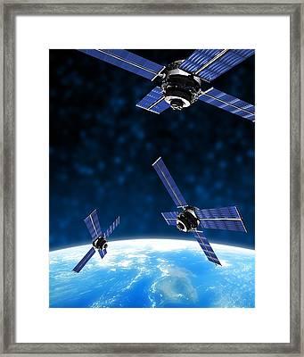 Satellites Orbiting Earth, Artwork Framed Print by Victor Habbick Visions