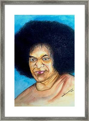 Sathya Sai Baba Framed Print by Jaiteg Singh