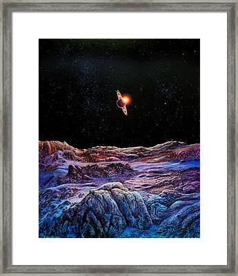 Saturn From Iapetus Framed Print by Don Dixon