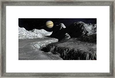 Saturn From The Surface Of Enceladus Framed Print