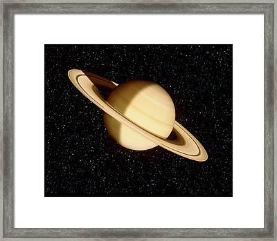 Saturn On A Starfield Framed Print