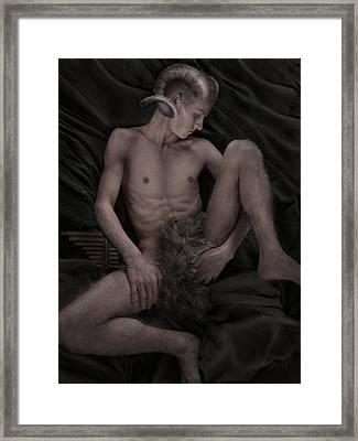 Satyr At Rest Framed Print by John Clum